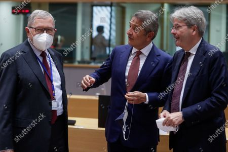 Managing Director of the European Stability Mechanism Klaus Regling (L), Member of the Executive Board of the ECB Fabio Panetta and European Commissioner for Economy Paolo Gentiloni (R) during a meeting of Eurogroup Finance Ministers, at the European Council in Brussels, Belgium, 12 July 2021. Finance ministers will exchange views on the international dimension of euro area economic and financial policies with Janet Yellen, the United States Secretary of the Treasury. The discussion is expected to focus on the economic recovery as well as on banking and financial stability issues.