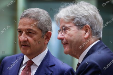 Member of the Executive Board of the ECB Fabio Panetta and European Commissioner for Economy Paolo Gentiloni (R) during a meeting of Eurogroup Finance Ministers, at the European Council in Brussels, Belgium, 12 July 2021. Finance ministers will exchange views on the international dimension of euro area economic and financial policies with Janet Yellen, the United States Secretary of the Treasury. The discussion is expected to focus on the economic recovery as well as on banking and financial stability issues.