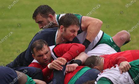 British & Irish Lions Squad Training, South Africa 12/7/2021. Iain Henderson, Tadhg Beirne and Jack Conan