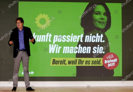 Michael Kellner, party secretary of the German Greens Party (Die Gruenen) speaks during a Greens Party press conference in Berlin, Germany, 12 July 2021. Michael Kellner presented the Green Party campaign for the 2021 German federal election.