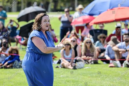 Stock Image of Irvine, CA, Sunday, July 11, 2021 - Representative Katie Porter (D-CA45) speaks without the help of a microphone during a town hall meeting with at Mike Ward Community Park. (Robert Gauthier/Los Angeles Times)