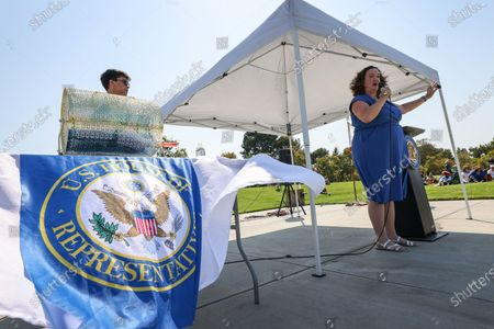 Editorial photo of Katie Porter town hall in Irvine, Mike Ward Community Park, Irvine, California, United States - 11 Jul 2021