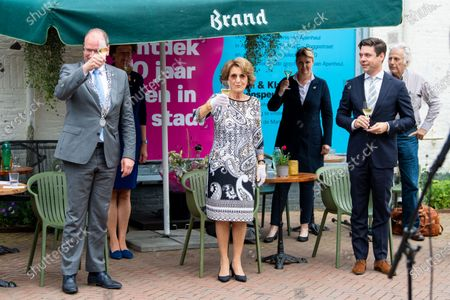 Stock Image of Princess Margriet unveils artwork in honor of the 50th anniversary of the Apenheul animal park in Apeldoorn, the Netherlands.