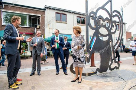 Princess Margriet unveils artwork in honor of the 50th anniversary of the Apenheul animal park in Apeldoorn, the Netherlands.