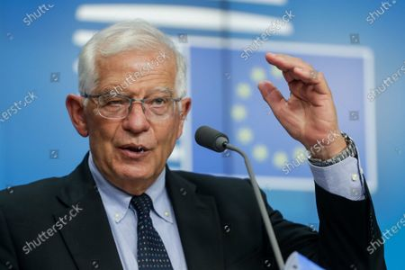 European Union foreign policy chief Josep Borrell gives a press conference at the end of a meeting of the EU foreign ministers, at the European Council in Brussels, Belgium, 12 July 2021.