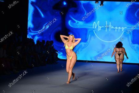 A model walks the runway for during My Happy by Stef Roitman, Mery Racauchi and Mery Playa fashion show during Miami Swim Week FW21 at The PARAISO Tent