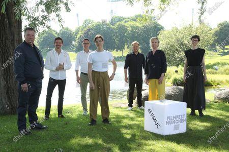 """World premiere of """"Ferdinand von Schirach - Faith"""" at the cinema on Lake Olympiasee in Munich on July 10, 2021, as part of the Filmfest München. from left Peter Kurth, Oliver Berben, Sascha Schwingel, Sebastian Urzendowsky, Jan Ehlert, Brigitte Kohnert and Sandra Guertler"""