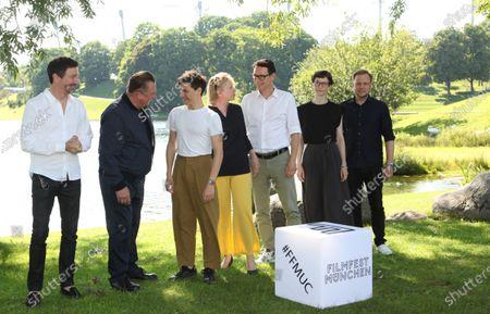 """World premiere of """"Ferdinand von Schirach - Faith"""" at the cinema on Lake Olympiasee in Munich on July 10, 2021, as part of the Filmfest München. from left Oliver Berben, Peter Kurth, Sebastian Urzendowsky, Brigitte Kohnert, Sascha Fescue, Sandra Guertler and Jan Ehlert"""