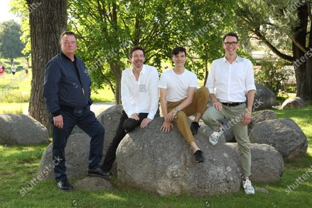 """World premiere of """"Ferdinand von Schirach - Faith"""" at the cinema on Lake Olympiasee in Munich on July 10, 2021, as part of the Munich Film Festival. from left Peter Kurth, Oliver Berben, Sebastian Urzendowsky and Sascha Fescue"""