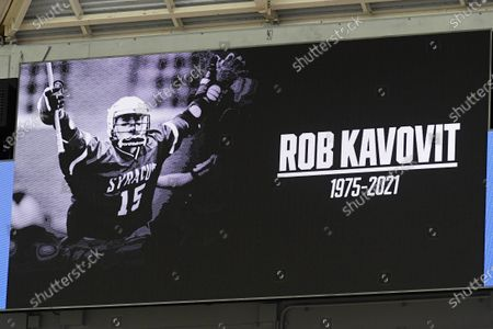 General view of a video board displaying a tribute to former Syracuse Orange great, Rob Kavovit, prior to an NCAA mens lacrosse game between the Holy Cross Crusaders and the Syracuse Orange on Saturday, March, 20, at the Carrier Dome in Syracuse, New York. Syracuse won 15-6