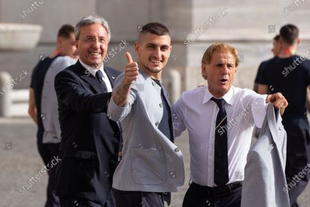 Marco Verratti the player of the Italian National Football Team enter the Quirinal Palace in Rome to visit the President of the Republic Sergio Mattarella after the victory of the European Football Championships, raising the cup won to the sky. The Italian tennis player Matteo Berrettini, finalist at the Wimbledon tournament, also attended the ceremony