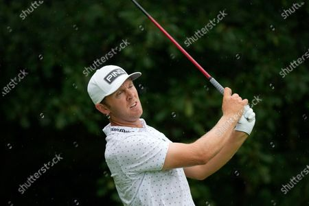 Seamus Power hits off the second tee during the final round of the John Deere Classic golf tournament, at TPC Deere Run in Silvis, Ill