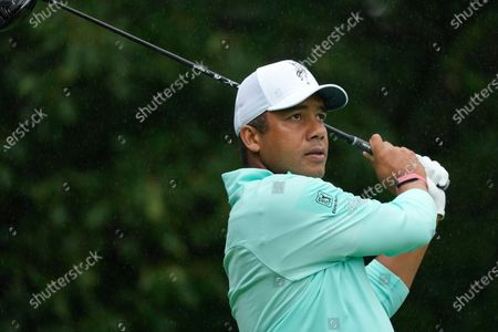 Jhonattan Vegas hits off the second tee during the final round of the John Deere Classic golf tournament, at TPC Deere Run in Silvis, Ill