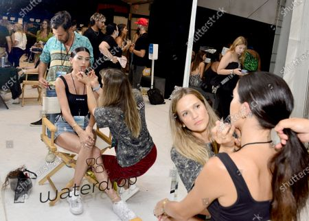 Designer Nicole Williams English backstage getting ready during Nia Lynn Collection by Nicole Williams English fashion show during Miami Swim Week FW21 at The PARAISO Tent