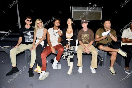 Joey Joy, Carly Lawrence, Jovan Clark, Keella Garre, Dakota Griffin and Johnny Lascano attend the Nia Lynn Collection by Nicole Williams English fashion show during Miami Swim Week FW21 at The PARAISO Tent