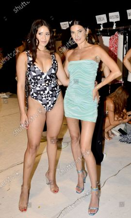 Stock Photo of Designer Nicole Williams English (R) backstage during Nia Lynn Collection by Nicole Williams English fashion show during Miami Swim Week FW21 at The PARAISO Tent