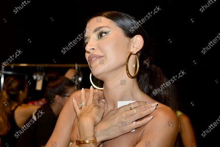 Designer Nicole Williams English backstage during Nia Lynn Collection by Nicole Williams English fashion show during Miami Swim Week FW21 at The PARAISO Tent
