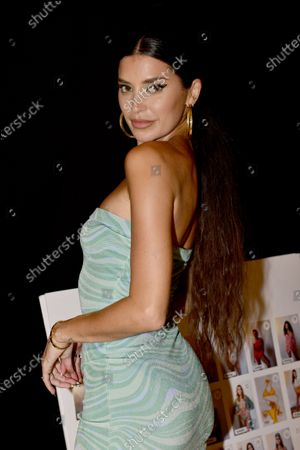 Stock Image of Designer Nicole Williams English backstage during Nia Lynn Collection by Nicole Williams English fashion show during Miami Swim Week FW21 at The PARAISO Tent