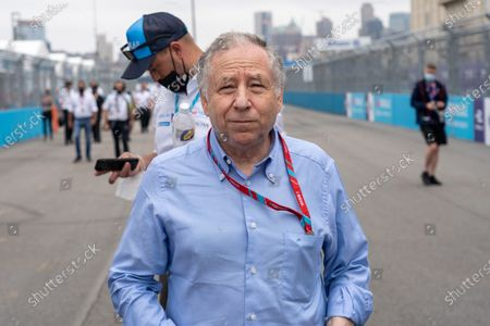 President of FIA, Jean Todt seen on track before start of the race during the ABB FIA Formula E Championship, round 11 E-Prix in New York.