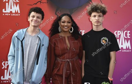 """Stock Photo of Jax Joseph Nilon, from left, Garcelle Beauvais and Jaid Thomas Nilon arrive at the world premiere of """"Space Jam: A New Legacy"""", at Regal L.A. Live in Los Angeles"""