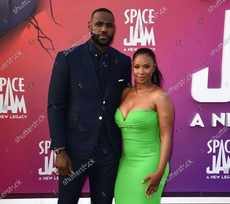 """LeBron James and and Savannah Brinson arrive at the world premiere of """"Space Jam: A New Legacy"""", at Regal L.A. Live in Los Angeles"""