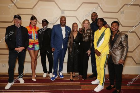 Stock Image of Toby Emmerich, Chairman of Warner Bros. Pictures Group, Zendaya, Don Cheadle, Malcolm D. Lee, Director, Sonequa Martin-Green, Ann Sarnoff, Chairman and CEO of Warner Bros, LeBron James, Ceyair J Wright, Cedric Joe
