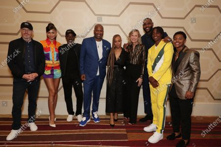 Stock Picture of Toby Emmerich, Chairman of Warner Bros. Pictures Group, Zendaya, Don Cheadle, Malcolm D. Lee, Director, Sonequa Martin-Green, Ann Sarnoff, Chairman and CEO of Warner Bros, LeBron James, Ceyair J Wright, Cedric Joe