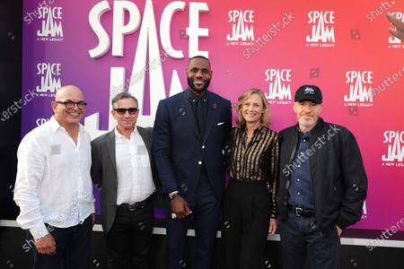 Stock Picture of Jeff Goldstein, President of Domestic Distribution of Warner Bros. Pictures, Josh Goldstine, Head of worldwide marketing at Warner Bros. Pictures, LeBron James, Ann Sarnoff, Chairman and CEO of Warner Bros., Toby Emmerich, Chairman of Warner Bros. Pictures Group