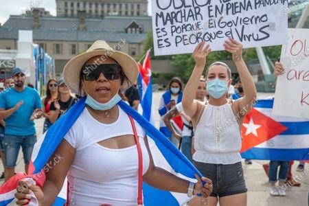 Editorial image of Cubans Demanding Change, Toronto, Canada - 12 Jul 2021