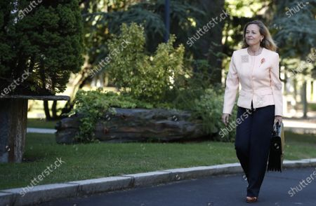 First Deputy Prime Minister and Minister of Economy, Nadia Calvino arrives to Moncloa Palace to attend the weekly Cabinet Meeting in Madrid, Spain,  13 July 2021. All new ministers are attending the weekly Cabinet Meeting for the first time after Sanchez carried out a remodeling of the Spanish cabinet.