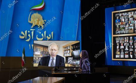 Maryam Rajavi, Ashraf-3, Albania, 12/07/2021 - Maryam Rajavi, President-elect of National Council of Resistance of Iran (NCRI), listening to Senator Joseph Lieberman, on the third day of the Free Iran World Summit on July 12, 2021 in Ashraf 3, Albania.