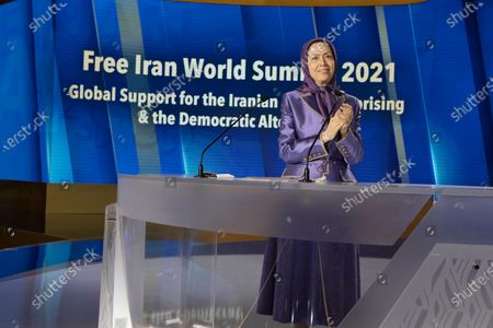 Maryam Rajavi, Ashraf-3, Albania, 12/07/2021 - Maryam Rajavi, Ashraf-3, Albania, 12/07/2021 - Maryam Rajavi, President-elect of National Council of Resistance of Iran (NCRI), addressing the third day of the Free Iran World Summit on July 12, 2021 in Ashraf 3, Albania. She said Khamenei's installing of Ebrahim Raisi and consolidating power within the regime was a combative and repressive configuration as fortification against the uprisings.