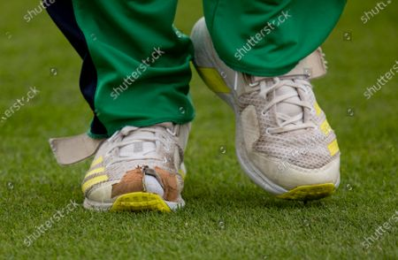Ireland vs South Africa. Ireland's Josh Little with the toe worn through on his shoe