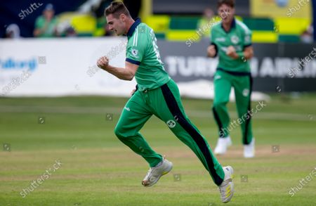 Ireland vs South Africa. Ireland's Josh Little celebrate bowling out South Africa's Kyle Verreynne