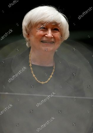 Treasury Secretary Janet Yellen attends a meeting of eurogroup finance ministers at the European Council building in Brussels on