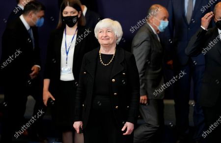 Stock Photo of Treasury Secretary Janet Yellen, center, poses during a group photo of eurogroup finance ministers at the European Council building in Brussels on