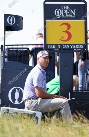 Stock Picture of United States' Matt Kuchar waits by the 3rd tee during a practice round for the British Open Golf Championship at Royal St George's golf course Sandwich, England, . The Open starts Thursday, July, 15