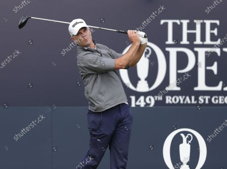 Kevin Streelman (USA) hits his tee shot on the 1st hole; The Royal St. George's Golf Club, Sandwich, Kent, England; The 149th Open Golf Championship, practice day.