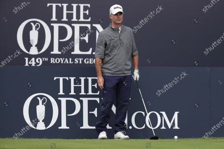 Kevin Streelman (USA) prepares to hit his tee shot on the 1st hole; The Royal St. George's Golf Club, Sandwich, Kent, England; The 149th Open Golf Championship, practice day.