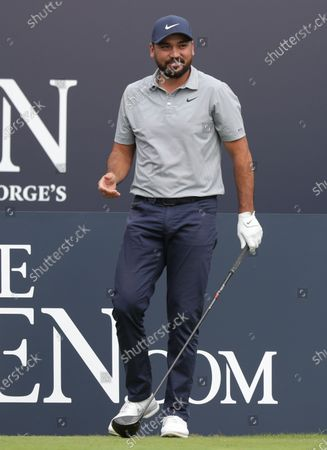 Jason Day (AUS) prepares to hit his tee shot on the opening hole; The Royal St. George's Golf Club, Sandwich, Kent, England; The 149th Open Golf Championship, practice day.
