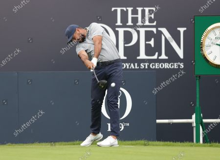 Jason Day (AUS) hits his tee shot on the 1st hole; The Royal St. George's Golf Club, Sandwich, Kent, England; The 149th Open Golf Championship, practice day.