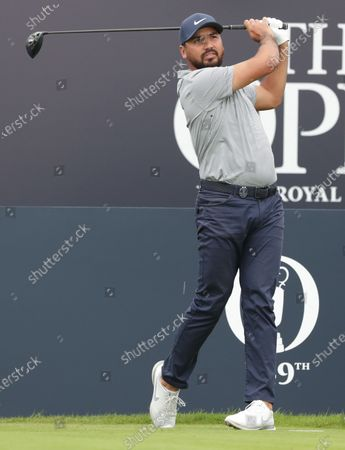 Jason Day (AUS) watches his tee shot on the 1st hole; The Royal St. George's Golf Club, Sandwich, Kent, England; The 149th Open Golf Championship, practice day.