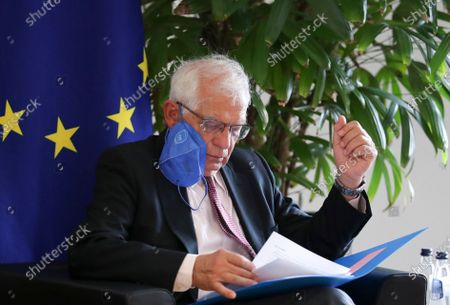 Stock Image of European Union foreign policy chief Josep Borrell sits down for a meeting with Zoran Tegeltija, Chairman of the Council of Ministers of Bosnia and Herzegovina, in Brussels, Belgium, 13 July 2021.