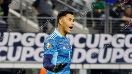 Mexico goalkeeper Alfredo Talavera (1) directs his team as they played Trinidad and Tobago during the second half of a CONCACAF Gold Cup Group A soccer match in Arlington, Texas