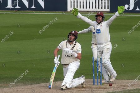 Stock Picture of Surrey batsman, Jamie Overton, padded up, but was bowled by Somerset's Roelof Van Der Merwe, much to the delight of Somerset wicketkeeper, Steve Davies during Surrey CCC vs Somerset CCC, LV Insurance County Championship Group 2 Cricket at the Kia Oval on 13th July 2021