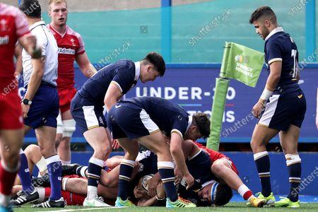 Scotland vs Wales. Scotland's Patrick Harrison scores a try