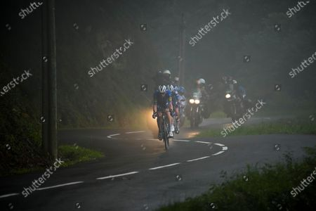 Denmark's Michael Morkov rides downhill after loosing contact with the peloton during the sixteenth stage of the Tour de France cycling race over 169 kilometers (105 miles) with start in Pas de la Case and finish in Saint Gaudens, France