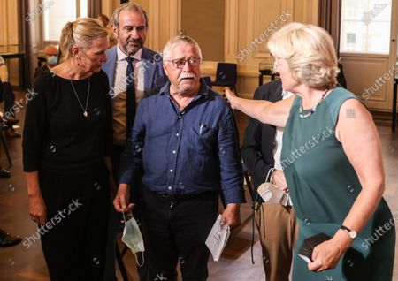 Singer-songwriter and former East German dissident Wolf Biermann (C) and his wife Pamela Biermann (L) and German Federal Government Commissioner for Culture and the Media Monika Gruetters (R) before a handover Ceremony of Wolf Biermann's archive to the Berlin State Library in Berlin, Germany, 13 July 2021. The Berlin State Library - Prussian Cultural Heritage has acquired the private and professional archive and the personal diaries of the former East German dissident and Singer-songwriter Wolf Biermann. Biermann's archive is a collection of material from over 120 years. It serves a wide variety of genres and numerous branches of science, from musicology to literature and theater studies, sociology, political science and history