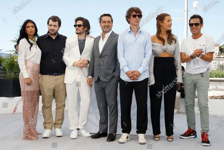 Kenza Fortas, Karim Leklou, Francois Civil, Gilles Lellouche, Cedric Jimenez, Adele Exarchopoulos, and Cyril Lecomte pose during the photocall for 'Bac Nord' at the 74th annual Cannes Film Festival, in Cannes, France, 13 July 2021. The festival which runs from 06 to 17 July.