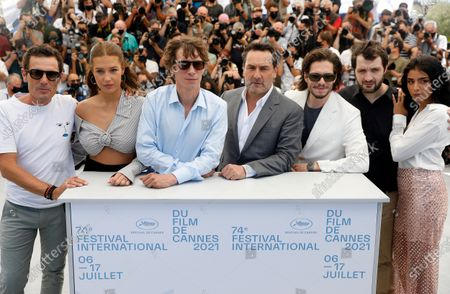 Cyril Lecomte, Adele Exarchopoulos, Cedric Jiminez, Gilles Lellouche, Francois Civil, Karim Leklou, and Kenza Fortas pose during the photocall for 'Bac Nord' at the 74th annual Cannes Film Festival, in Cannes, France, 13 July 2021. The festival which runs from 06 to 17 July.